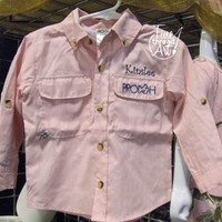 Pink Fishing Shirt Infant/Toddler from Fine Thread Art LLC