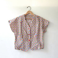 20% OFF SALE. 80s Cropped Shirt. Checkered button front top. Cap sleeved top.