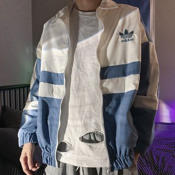 """Adidas"" Fashion Casual Stitching Color Drawstring Upright Neck Long Sleeve Zip Cardigan Windbreaker Coat"