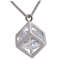 Rigant 18K–Zircon Alloy Cube Necklace
