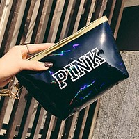 Victoria's Secret Pink New Popular Women Shopping Bag Laser Reflective Zero Wallet Handbag Cosmetic Bag(12-Color) Black I13250-1