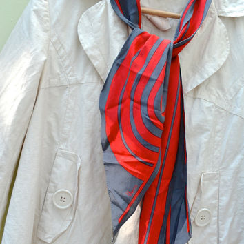 Vera Scarf, Wing Tip Scarf, Vintage Scarf, Long Scarf, Red and Gray Scarf, VERA, Vera Neumann, Neumann scarf, 1970's scarves, Abstract Scarf