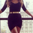 Black Half Sleeve Bodycon Dress