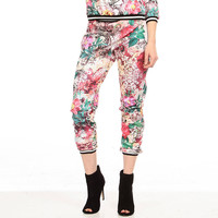 Red Floral Print Low Waisted Pants