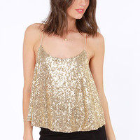 Would You Beam Mine? Gold Sequin Top