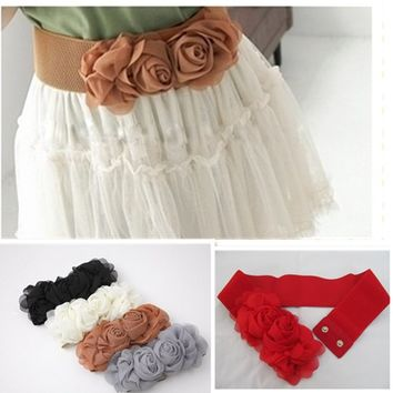 8 Colors Women's Double Rose Flower Buckle Elastic Waist Belt Lady Waistband New