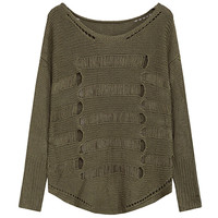Army Green Cutout Long Sleeve Pullover Sweater