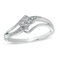 Cherished Promise Collection™ Diamond Accent Splendid Promise Ring in Sterling Silver - Size 6