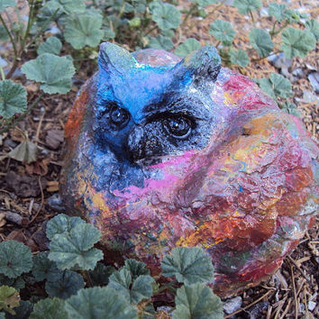 Stoned Hippy Owl, Great Horned Owl, Owl Statue, Owl Decor, Concrete