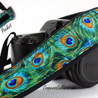 Peacock dSLR Camera Strap with Pocket, Feathers, Teal, Green, Aqua, Gold,  SLR