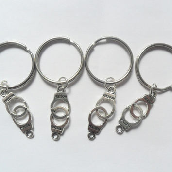 Best Friend Keychains 4 best friends handcuff keychains partners in crime bff couples sisters BFF
