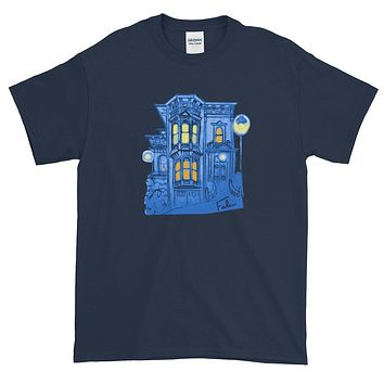 Blue Victorian San Francisco Short-Sleeve T-Shirt by Nathalie Fabri