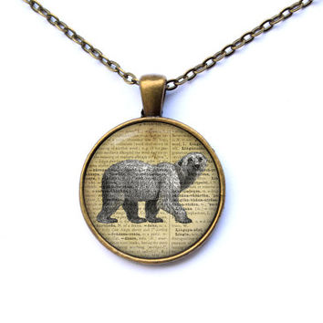 Polar bear necklace Animal pendant Art jewelry CWAO47-1
