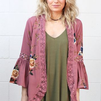 Lovely Florals Ruffle Sleeve Kimono {Mauve} EXTENDED SIZES