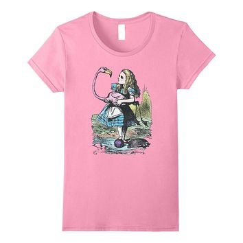 Pink Alice in Wonderland with Flamingo and Hedgehog Shirt