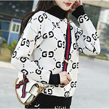 """GUCCI"" Autumn Winter Stylish Women Casual Long Sleeve Knit Sweater Top Sweatshirt White"