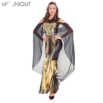 MOONIGHT Adult Cosplay Egyptian Cleopatra Costume Gothic Sexy Halloween Costumes For Women