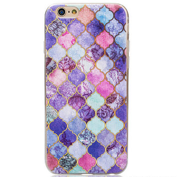 Retro Purple Marble Grain Case for iPhone 5s 6 6s Plus