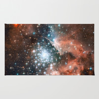 Bright nebula stars galaxy hipster geek cool space Nasa orange nebulae photograph Area & Throw Rug by iGallery