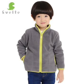 SVELTE Brand 4-9Y Children Boys Solid Fleece Jacket Cardigan Chaqueta Coat Jersey for Fall Winter Kids Outerwear Parka Clothes