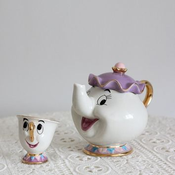 Cartoon Beauty And The Beast Old style Teapot Mug Mrs Potts Chip Tea Pot Cup One Set Xmas gift for friend Free Shipping