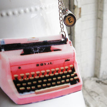 Personalized Initial Pendant Necklace Pink Typewriter Gift for Writer Kitsch Geekery