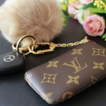LV Fashion Louis Vuitton Monogram Check Leather Zipper Key Pouch Clutch Bag Coin Purse Wallet I/A