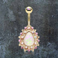 Gold Belly Button Rings White Opal Belly Button Rings Opal Belly Rings