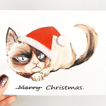 Grumpy Cat Card, Christmas Card, Funny Greeting Card, Sarcastic Card, Merry Christmas, Personalized Card, Customized Card, Blank Notecard