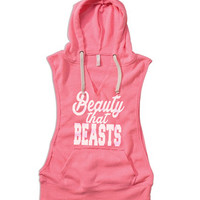 Beauty that beasts women's gym sweater. Womens hooded gym sweater. Lightweight womens gym jacket. womens gym pullover. gym sweater.