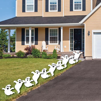 Spooky Ghost Shaped Lawn Decorations - Outdoor Halloween Yard Decorations - Halloween Party Lawn Ornaments - Halloween Yard Art - 10 Pc.