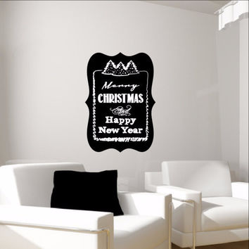 Merry Christmas and Happy New Year with Trees Chalkboard Inspired Vinyl Wall Decal 22487