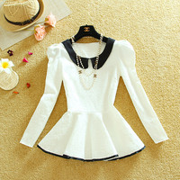 Korean fashion long-sleeved t-shirt