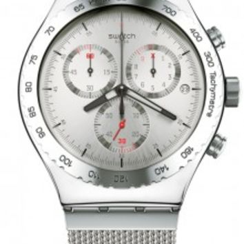 Swatch Irony Silverish Chronograph Silver Dial Mens Watch YVS405G