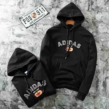 Adidas New fashion bust letter print thick keep warm hooded long sleeve sweater top Black