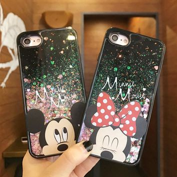 Luxury Mickey Minnie Mouse Heart Stars Dynamic Liquid Quicksand Soft TPU Phone Back Cover Case for iPhone 5 5S 5SE 6 6S 7 7Plus