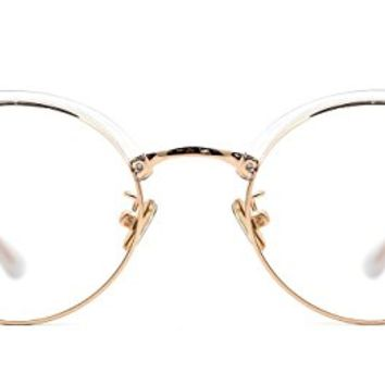 TIJN Gold-tone Translucent Frame Browline Round Eyeglasses for Womens