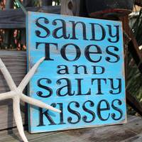 Beach Sign Sandy Toes Salty Kisses Coastal Beach House Nautical Decor Nursery Decor