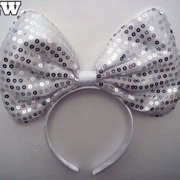 Minnie Mouse Ears Headband Silver Sparkle Sequin Jumbo Big hair bow Mickey Mouse Ears, Disneyland, Mickey Mouse Ears, Disneyland