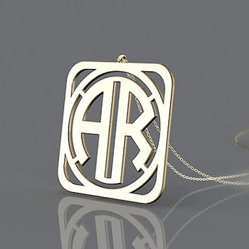 Customized monogram necklace--1.25 inch gold plated monogram necklace with 2  initial  AR  for gift