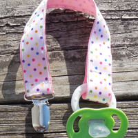 Pink Ribbon, Multi colored Dots Pacifier Holder, Binky Clip, Pacifier Clip or Toy Clip
