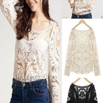 Women Sexy Semi Sheer Long Sleeves Embroidery Floral Lace Crochet Tee T-Shirt Top Blouse = 1913385796
