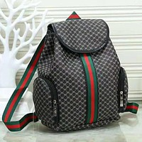 GUCCI New fashion more letter print stripe high capacity couple backpack bag Black