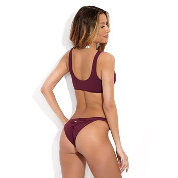 Rib Tide Cheeky Hipster Bikini Bottom - Plum