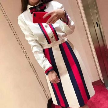 DCCKH3L Gucci' Women Temperament Fashion Multicolor Stripe Bow Long Sleeve Shirt Skirt Set Two-Piece