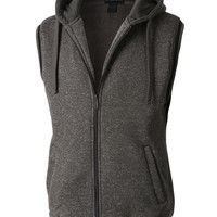 LE3NO Mens Casual Brushed Fleece Full Zip Up Sleeveless Hoodie Vest (CLEARANCE)