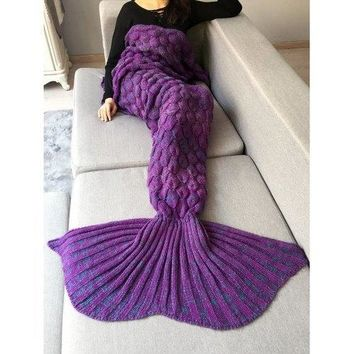 Fish Scale Crochet Knit Home Decor Mermaid Blanket Throw - Purple