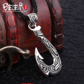 BEIER Biker new store 100% 925 thai silver sterling Fishing hook pendant necklace punk Choker for men fashion jewelry A1799