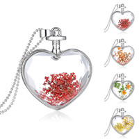 Luxury Heart Glass Bottle Dried Flower Pendant Necklace