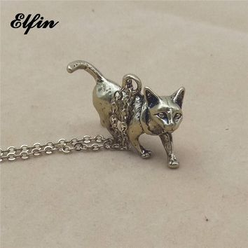 Elfin 2018 Trendy Vintage Retro 3D Sphynx Cat Necklace Fashion Animal Cat Jewellery Pendant Necklace Women Steampunk